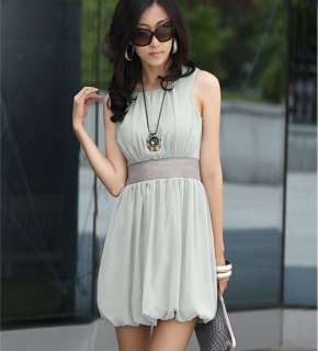 Womens Stylish Chiffon Tunic Sleeveless Short Mini Dresses
