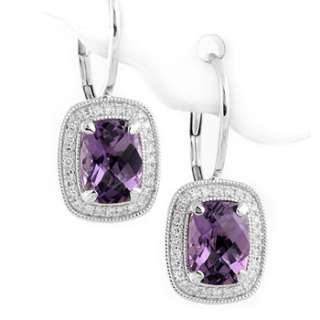 FINE CUSHION CUT AMETHYST & DIAMOND LEVERBACK EARRINGS 14K WHITE GOLD