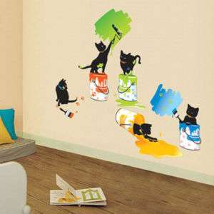 PAINTING CATS WALL STICKER DECAL REMOVABLE VINYL MURAL
