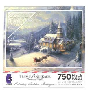 Thomas Kinkade Christmas Evening Sleigh Ride 750pc Hidden Message