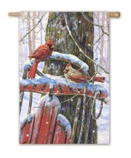 Winter Sled Red Cardinals Snow Silk Reflections Large Flag