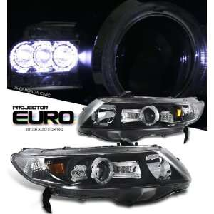 06 08 Honda Civic 2 Door LED Projector Headlights   Black
