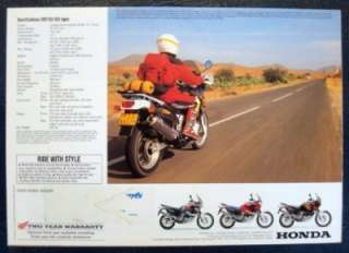 HONDA AFRICA TWIN 750 MOTORCYCLE SALES BROCHURE NOVEMBER 1995.