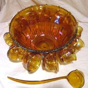 Iridescent Gold Marigold Princess Carnival Glass Punch Bowl Set