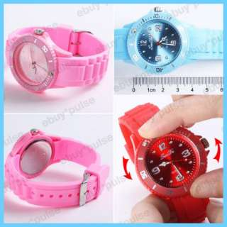 NEW Candy Women Size Silicon Band Unisex Sport Quartz Wrist Watch Gift