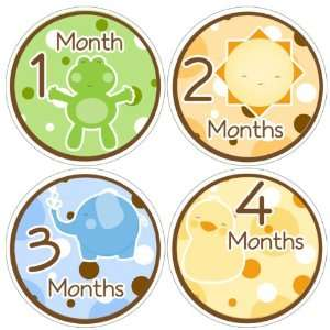 Jungle Animals Baby Month Stickers for Bodysuit #55 Baby