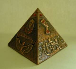 Ancient Egyptian Brass Pyramid Ashtray with Nefertiti & King Tut Egypt