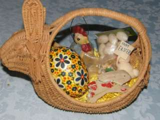Vintage Wicker Bunny Easter Basket Filled with Easter Decor ~ Eggs