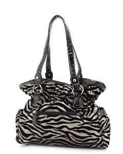 Pewter & Black Zebra Animal Print Rhinestone Buckle Belted Tote Hobo