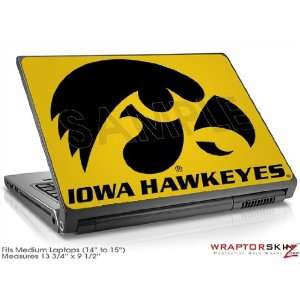 Medium Laptop Skin Iowa Hawkeyes Black on Gold Electronics