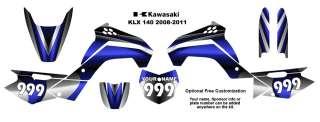 Kawasaki KLX 140 2008 11 MX Bike Decal Kit 2200BLUE