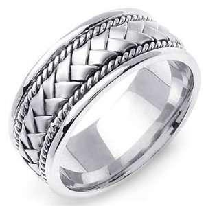 HYGINOS 14K White Gold Braided Wedding Band Ring Jewelry
