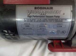 ROBINAIR VACUMASTER 15600 6 CFM 1/2 HP HIGH PERFORMANCE STAGE VACUUM