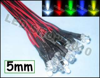 100 pcs 5mm white Red blue green yellow Round LED Pre Wired Lights 12V