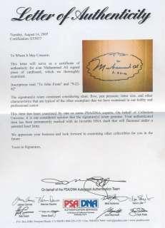 Muhammad Ali Autographed PSADNA 3x6 Signature Inscribed