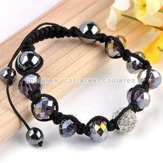 1X Voilet Faceted Crystal Glass Disco Ball Bead Adjustable Macrame