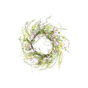 Pink Flowering Blossom Silk Floral Wreaths 20   Unlit