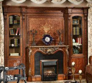 Warm Brown Rococo Electric Fireplace Bookcase Unit