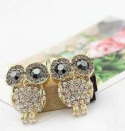 Lovely shining crystals big eye owl earring stud Hot