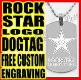 ROCKSTAR Energy Drink Logo Military ID Dog Tag Necklace