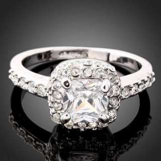 Swarovski clear Crystal white gold GP Engagement Ring