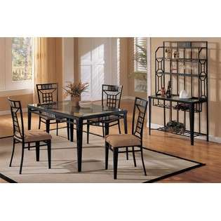 5pc Contemporary Cappuccino Finish Round Dining Room Table & Chair Set