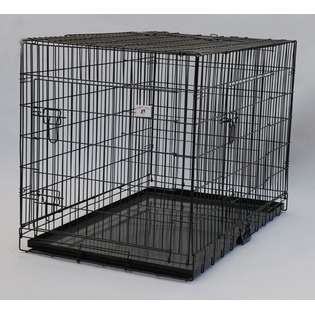 54 3 Doors Black Folding Dog Cat Crate Cage Kennel w/DIVIDER  BestPet