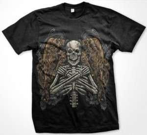 Fallen Angel Skeleton Gothic Art Tattoo Death Liquid Blue Mens T