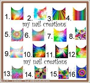20 LONG FRENCH TIP NAIL DECALS ♥RAINBOW CUSTOM DESIGNS♥