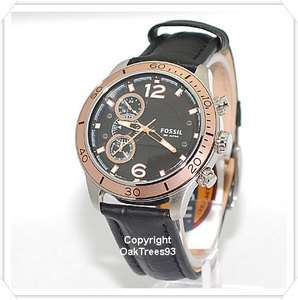 FOSSIL MENS CHRONOGRAPH ROSE GOLD LEATHER WATCH CH2621