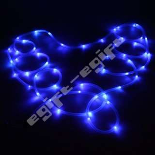 Solar Power 50 Blue LED Light Tube Rope Outdoor Indoor