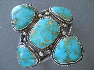 Old Blue Gem turquoise sterling silver bracelet 3 1/2 wide 123 grams