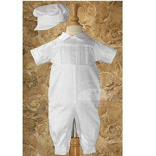 Little Things Mean A Lot Baby Boys White Cotton Pleated Baptism Outfit