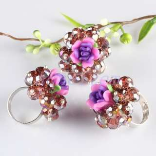 AB Crystal Glass Polymer Clay Flower Rose Finger Rings