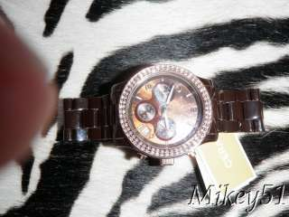 NEW MICHALE KORS CHOCOLATE CERAMIC WATCH WITH ROSE GOLD CRYSTAL BEZEL