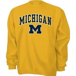 Michigan Wolverines Youth Navy Tackle Twill Crewneck