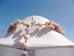 Vintage PURPLE PINK Opalescent ART GLASS Necklace set WESTERN GERMANY