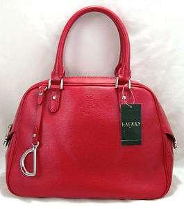 New Lauren by Ralph Lauren Newbury Red Leather Satchel Bag