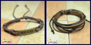 New 2 pcs Set Hemp Surfer Tribal Cuff Leather Bracelet