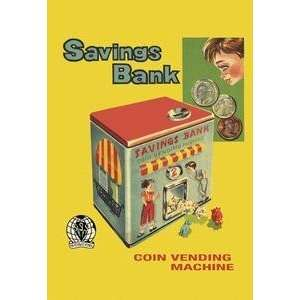 Vintage Art Coin Vending Machine Savings Bank   21646 8