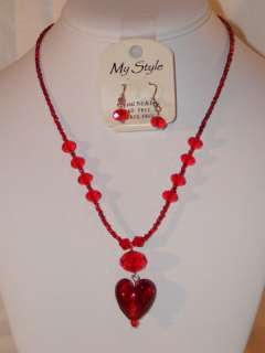 My Style Necklace & Earring Set NEW Crystal Beads Glass