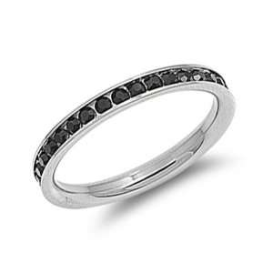 Stainless Steel Black Crystal Eternity Ring Size 4 Jewelry