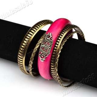 lots VTG wood men/women mixed bracelet bangle Cuff Jewelry sets