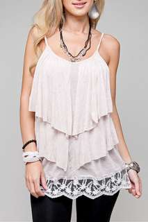 BABY PINK Ruffle Top Blouse Lace Hem Tiered Tank Spaghetti Strap S M L