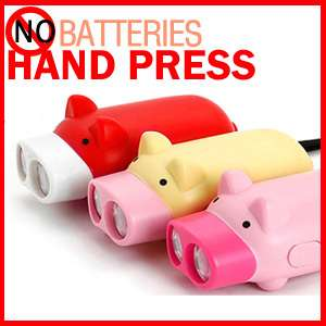 No Battery Hand Press Flash Light Torch Pig Flashlight