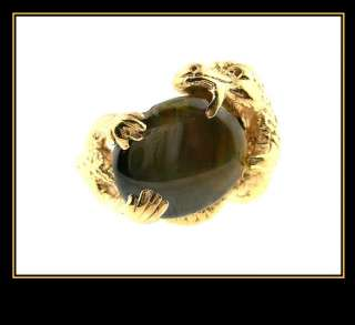 14K Solid Yellow Gold Black Star Sapphire Dragon Ring