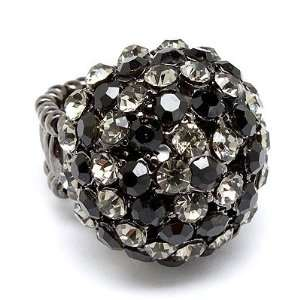 Duo Tone Dome Round Crystal Pave Stretch Ring Black Jewelry