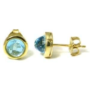 14K Yellow Gold Blue Topaz Stud Earrings Jewelry
