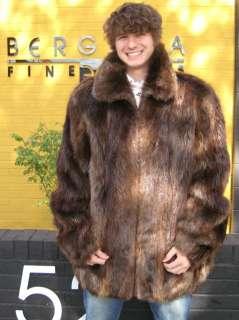55902 New Mens Natural Brown Beaver Fur Jacket Coat 5XL