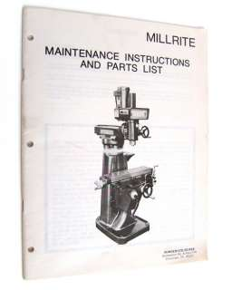 MILLRITE MILLING MACHINE POWERMATIC   SERVICE MANUAL